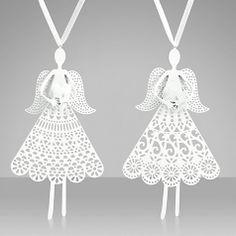 Buy John Lewis Die Cut Angel Tree Decoration, White, Assorted Online at johnlewis.com