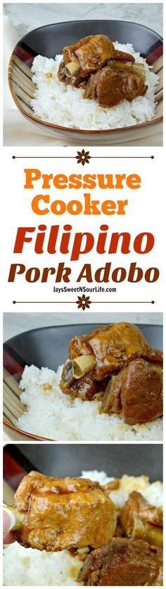 This fall of the bone Pressure Cooker Pork Adobo is to die for, try my families recipe and taste what we have been cooking for generations.