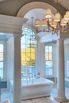 Beautiful windows, columns, flooring, lighting...