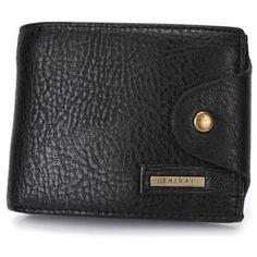 Men's Genuine Leather Button Wallet