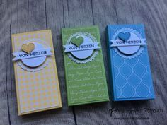 Small chocolate bar packaging in pastel colors from Stampin 'Up! Wrapping Ideas, Gift Wrapping, Advent Wreath Prayers, Advent Wreaths, Diy Paper, Paper Crafts, Stampin Up Weihnachten, Stamping Up, Pastel Colors