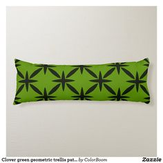 Clover green geometric trellis pattern body pillow Green Cushions, Clover Green, Trellis Pattern, Decorative Cushions, Soft Fabrics, Primary Colors, Vibrant Colors, Lime, Green Throw Pillows