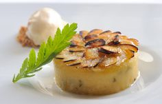 Rose and almond tansy pudding with butternut squash ice cream by Simon Hulstone