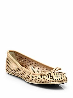 Jimmy+Choo Walsh+Perforated+Leather+Ballet+Flats