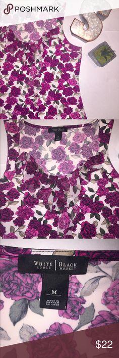 "WHBM Floral print sleeveless Blouse medium White House Black Market Women's Blouse Medium Ruffle Neckline  Measurements (approx.) Armpit to Armpit: 18.5"" Armpit to bottom hem: 16.5"" Banana Republic Tops Blouses"