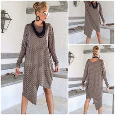 New Winter Warm Knitted Asymmetric Tunic by SynthiaCouture Wear it as a dress or with pants..!