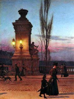 "Aleksander Gierymski ""Most Ludwika w Monachium"" Luis Bridge in Munich Nocturne, Kunst Poster, National Museum, Munich, Figurative Art, Art History, Illusions, Oil On Canvas, Art Photography"