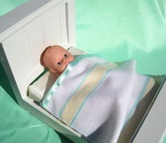 Security Blanket or Doll Blanket tulip turquoise