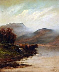 Pair of Antique - Vintage mid 20th Century Highland Cattle oil paintings on boar