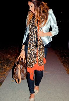 Stripes + Cheetah + Studs - striped jacket, animal print scarf plus flats