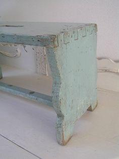 ♕ sweet aqua primitive stool