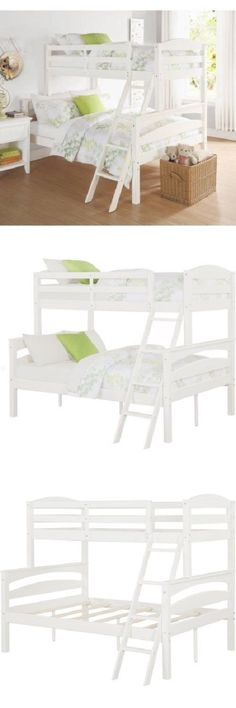 Bedroom Furniture 66742 Twin Full Bunk Beds Bunkbeds Ladder White Girls Children Kids