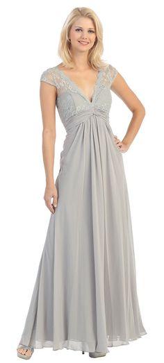 Floral Lace Deep V Neck Cap Sleeve Plus Size Bridesmaids Mother of Bride Dress #ThedressoutleT #Formal