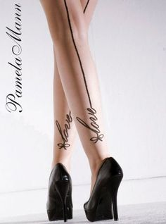 """Love""-seamed pantyhose. Perfectly themed. :)"