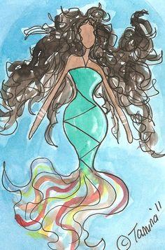 Mermaid watercolor by Tamina