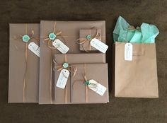 Packaging idea - brown paper and turquoise - diy label