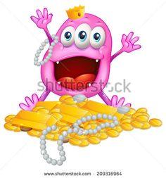 ◱ [Get Nulled]● Monster With Treasure Alien Background Bean Beanie Blob Cartoon Alien Character, Monster Illustration, Banner Template, Vector Design, Graphic Design, Typography Design, Character Design, Monsters, Vectors