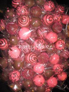 #PattyCakePops #CakePops #pink #brown #swirls #hearts #stars #sprinkles