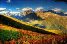 Georgian Mountains in Svaneti Village