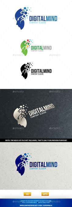 Digital Mind Logo — Photoshop PSD #blue #tech • Available here → https://graphicriver.net/item/digital-mind-logo/9690247?ref=pxcr