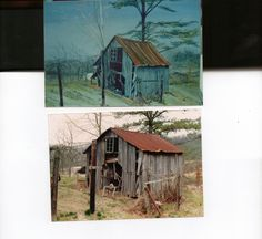 Top is a painting of the barn below. The actual painting in not tinted that green. Bad photo. This Barn was behind the run down garage in another pin. 1987