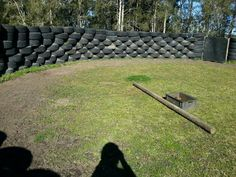 Round pen made from tires. Interesting way of recycling and creating a VERY safe training environment.