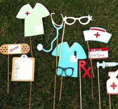 Photo booth props nurses themed by flutterbugfrenzy on Etsy, $18.50