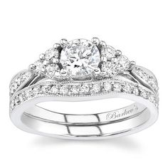 Barkev's 14K White Gold Tri-Cluster Diamond Wedding Set Featuring 0.41 Carats Round Cut Diamonds and a Curved Diamond Wedding Band