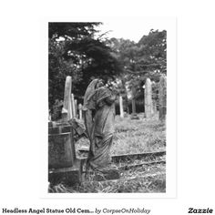 Headless Angel Statue Old Cemetery Postcard