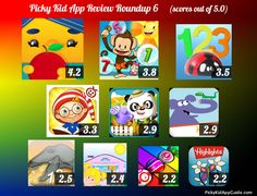 Kids App Review Roundup 6 -- The summary of the latest 10 apps we reviewed. http://pickykidappguide.com/app-reviews/app-review-roundup-6