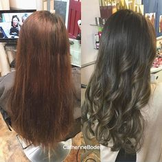 Why does dark hair go so copper when you just put a normal brown hair dye on like this lady ? Dark brown hair has alot of red undertones… Grey Brown Hair, Dark Brown, Color Correction Hair, Ash Hair, Copper Hair, Hair Dye, Up Hairstyles, Hair Makeup, Eye Makeup