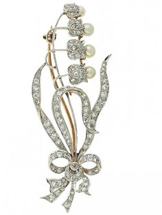Antique Edwardian Lily of the Valley Diamond and Natural Pearl Flower Brooch in Platinum ca 1910