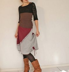SALE, Jersey skirt with decorative flowers on the sides - rustic boho chic, in deep carmine and grey by Thongbai Tatong