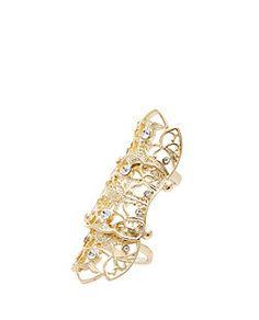 Gold Filigree Diamante Hinge Ring | New Look
