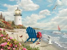 Lighthouse Painting, Lighthouse Pictures, Seascape Paintings, Landscape Paintings, Beach House Lighting, Beginner Painting, Paint Photography, One Stroke Painting, Beach Scenes