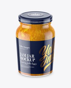 Clear Glass Jar with Orange Jam Mockup - High-Angle Shot