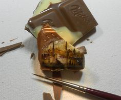Turkish artist Hasan Kale is creating a series of incredibly tiny paintings of Istanbul on seeds, chocolates, and other foods. Kale specializes in micro Detailed Paintings, Small Paintings, Landscape Paintings, Beautiful Paintings, Art Paintings, Landscape Art, Landscapes, Milka Chocolate, Chocolate Art