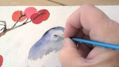 Watercolor Painting Winter Bird Lesson 4, via YouTube.