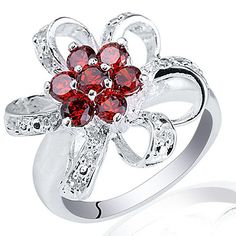 Flower Shape Lady Genuine Sterling Silver Ring With Small Zircon