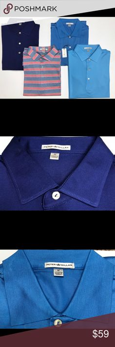 Peter Millar Blue Cotton Golf Polo Shirt Size M Peter Millar Cotton Golf Polo Shirts   *These are all Brand New and Never Worn. The Sailing Blue one has tags*  *All for individual sale-Please indicate ones that you are interested in with a Listing Comment. I will tell you if it is still available. Thank you!  Variations: Dark Blue Pique, Sailing Blue, Red/Blue/Green Stripes, Light Blue Pique Designs: Solid, Striped Size: M Logo: None Materials: 100% Cotton MSRP: $99.00 + tax Peter Millar…