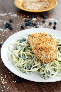 """Blueberry-Yogurt Zucchini Pasta Salad with Coconut Crusted Baked Chicken Sub the meat with vegan """"chicken"""""""