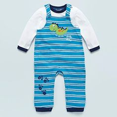 Baby's blue appliqued dinosaur dungarees and top - Trousers & shorts outfits - Outfits - Kids -