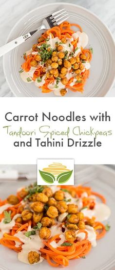 Carrot Noodles with Tandoori Spiced Chickpeas and Tahini Drizzle - Inspiralized Carrot Noodles, Veggie Noodles, Zucchini Noodles, Vegetarian Recipes, Healthy Recipes, Gf Recipes, Healthy Meals, Tandoori Masala, Clean Eating