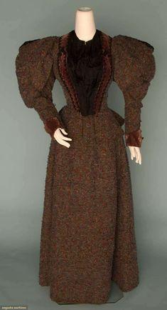 """WOOL TWEED WINTER OUTING DRESS, 1895  Green & red wool, purple velvet & black braid trim, B 36"""", W 27"""", Skirt L 41"""","""