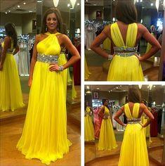 Halter Neck Long Chiffon prom Dresses, Yellow crystal Women prom Dresses, long Chiffon party Dresses, custom Made Prom Dresses 2017