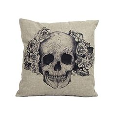 VESNIBA Home Sofa Bed Cars Decoration Vintage Skull Pillowcover Skull Cushion -- Click image to review more details.