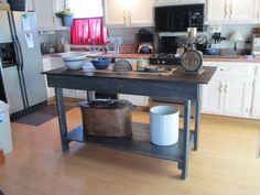 My primitive kitchen island... possible idea instead of formal island.