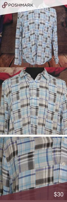 "7 For All Mankind Blue Plaid Flannel Shirt XL Pre-Owned in Excellent Condition Mens 7 For All Mankind Blue Black White Plaid Flannel Casual Sport Shirt XL    Size: XL  Color: Plaid Blue, Black, White  Material: 100% Cotton  Measurements: Bust: 23"" / Sleeve: 26"" / Length: 32"" 7 For All Mankind Shirts Casual Button Down Shirts"