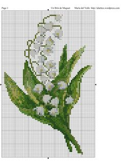 Pretty Lily of the Valley. Just Cross Stitch, Cross Stitch Cards, Cross Stitch Flowers, Cross Stitching, Cross Stitch Embroidery, Embroidery Patterns, Hand Embroidery, Cross Stitch Designs, Cross Stitch Patterns