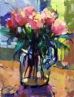 Pink Roses by Trisha Adams Oil ~ 16 x 12